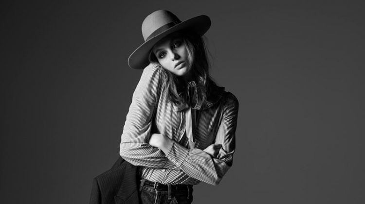 Fran Summers Models Celine's Chic Denim Styles