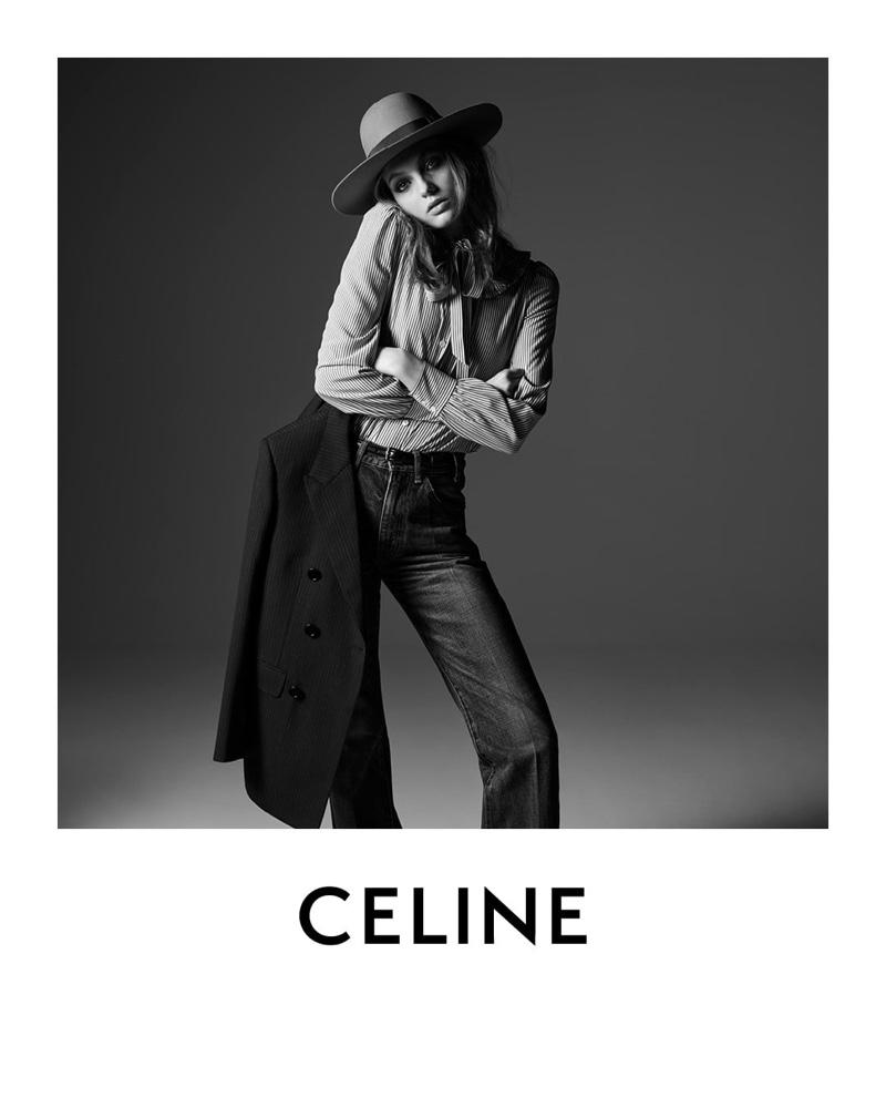 Model Fran Summers appears in Celine portrait by Hedi Slimane