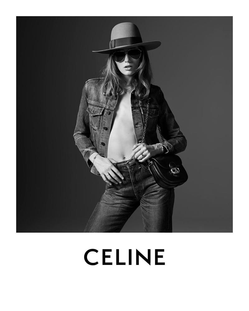 Model Fran Summers appears in Une Fille Celine spring 2020 portrait