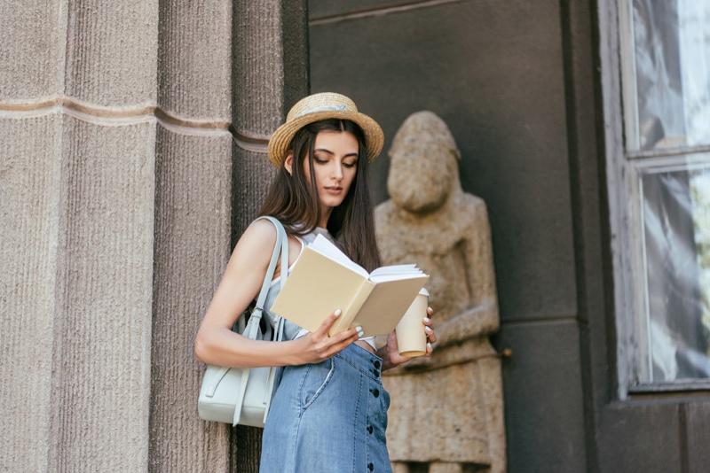 Girl Reading Book Denim Look Bag Coffee Straw Hat