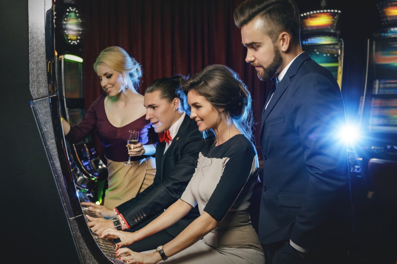 Group Friends Playing Casino Slots