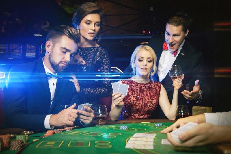 Group Stylish Men Women Casino Table