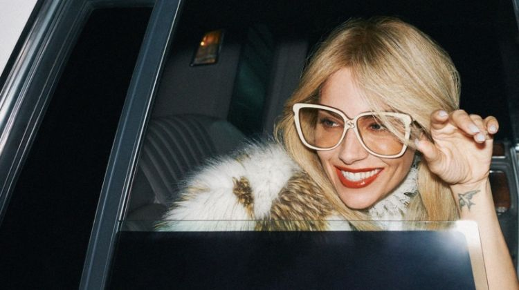 Sienna Miller wears glasses in Gucci cruise 2020 campaign