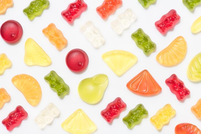 Gummies White Backdrop Colorful Bear Fruit Shapes