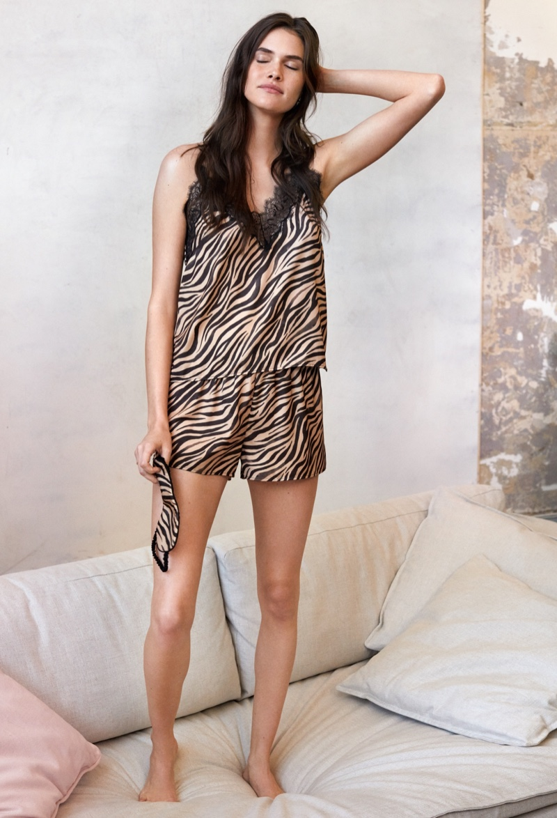 Vanessa Moody models H&M pajama camisole top and shorts in zebra print