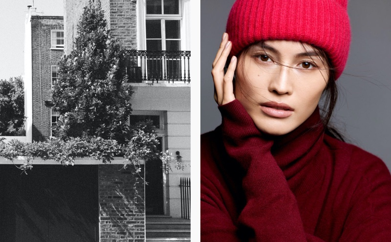 Sui He wears H&M rib-knit cashmere hat and turtleneck sweater