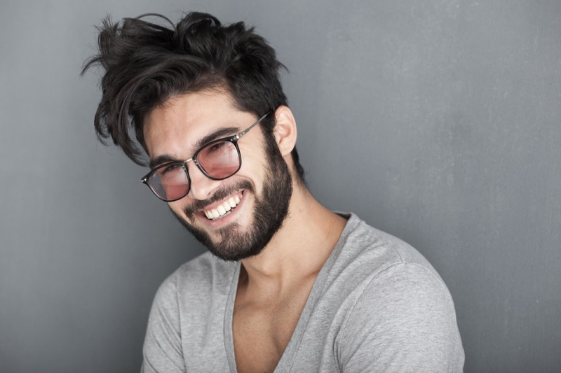 Handsome Smiling Man Beard Sunglasses