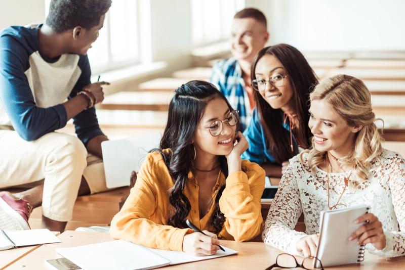 High school Classroom Diverse Notes Students