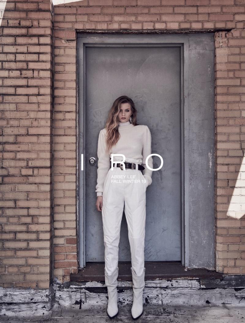 Wearing a monochromatic look, Abbey Lee Kershaw appears in IRO fall-winter 2019 campaign