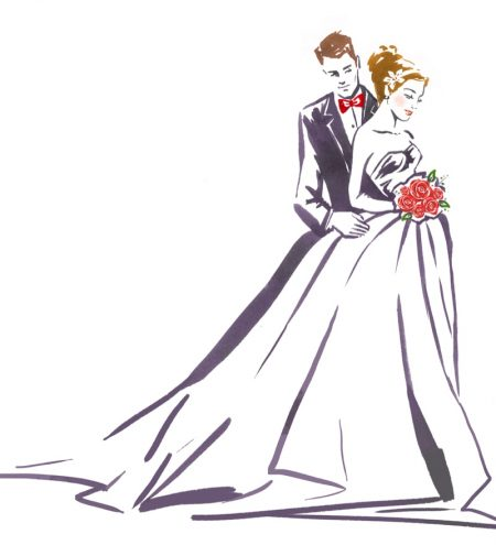 Illustration Bride Groom Dress Suit Fashion