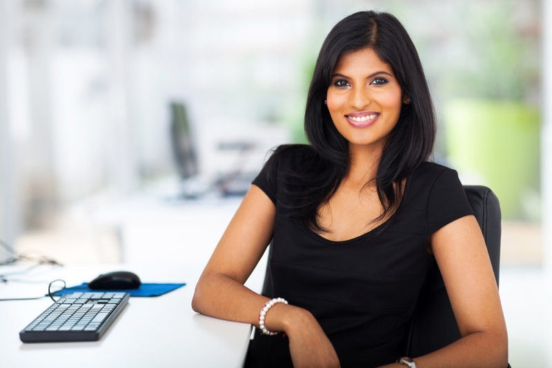 Indian Woman Office Smiling Black Shirt
