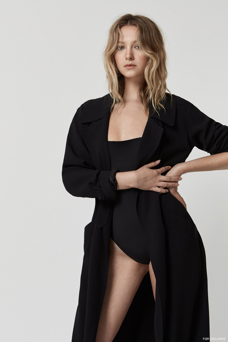 Bodysuit Wilfred by Aritzia and Trench stylist's own. Photo: Alan Chan