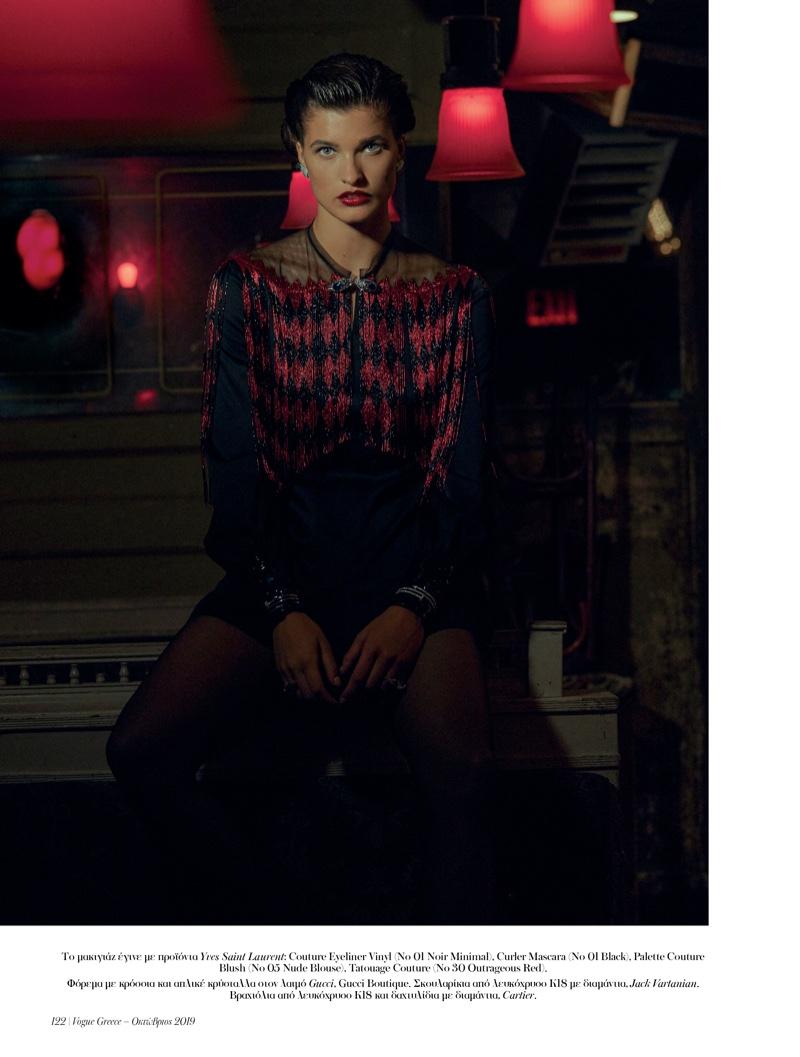 Julia Van Os Models Old Hollywood Beauty for Vogue Greece