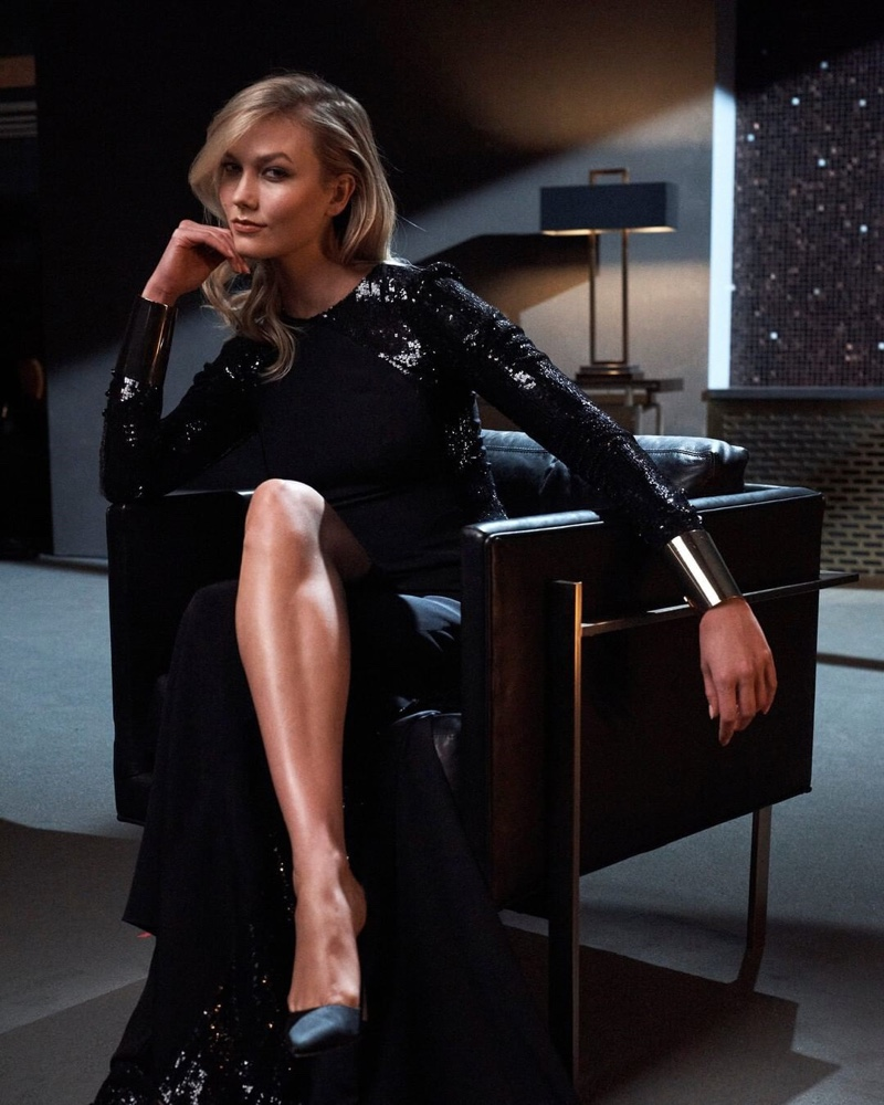 Flaunting her legs, Karlie Kloss poses for Carolina Herrera Bad Boy promotional shots