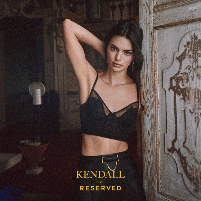Model Kendall Jenner dresses in black for Reserved fall-winter 2019 campaign