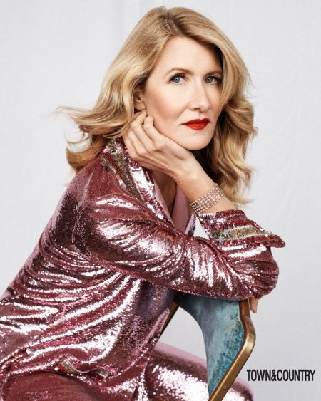 Laura Dern poses in Valentino shirt and pants with Van Cleef & Arpels bracelet