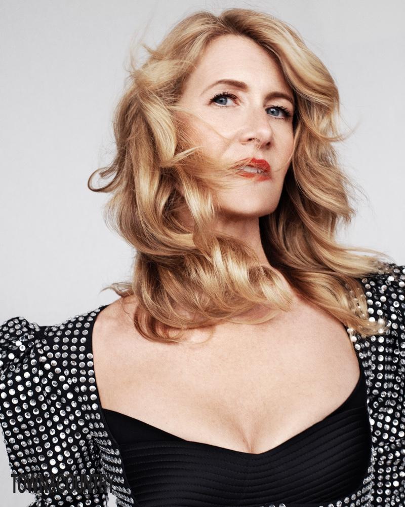Ready for her closeup, Laura Dern wears Versace dress