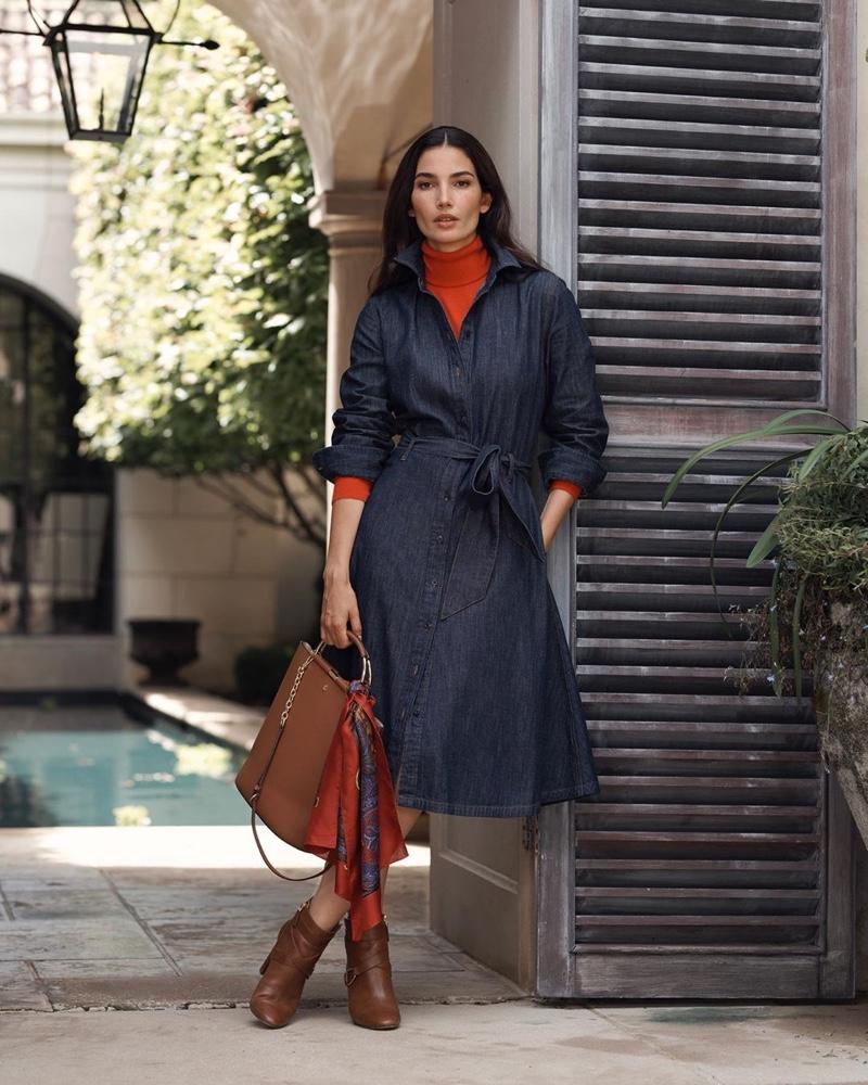 Wearing a denim shirtdress, Lily Aldridge appears in Lauren Ralph Lauren fall 2019 campaign