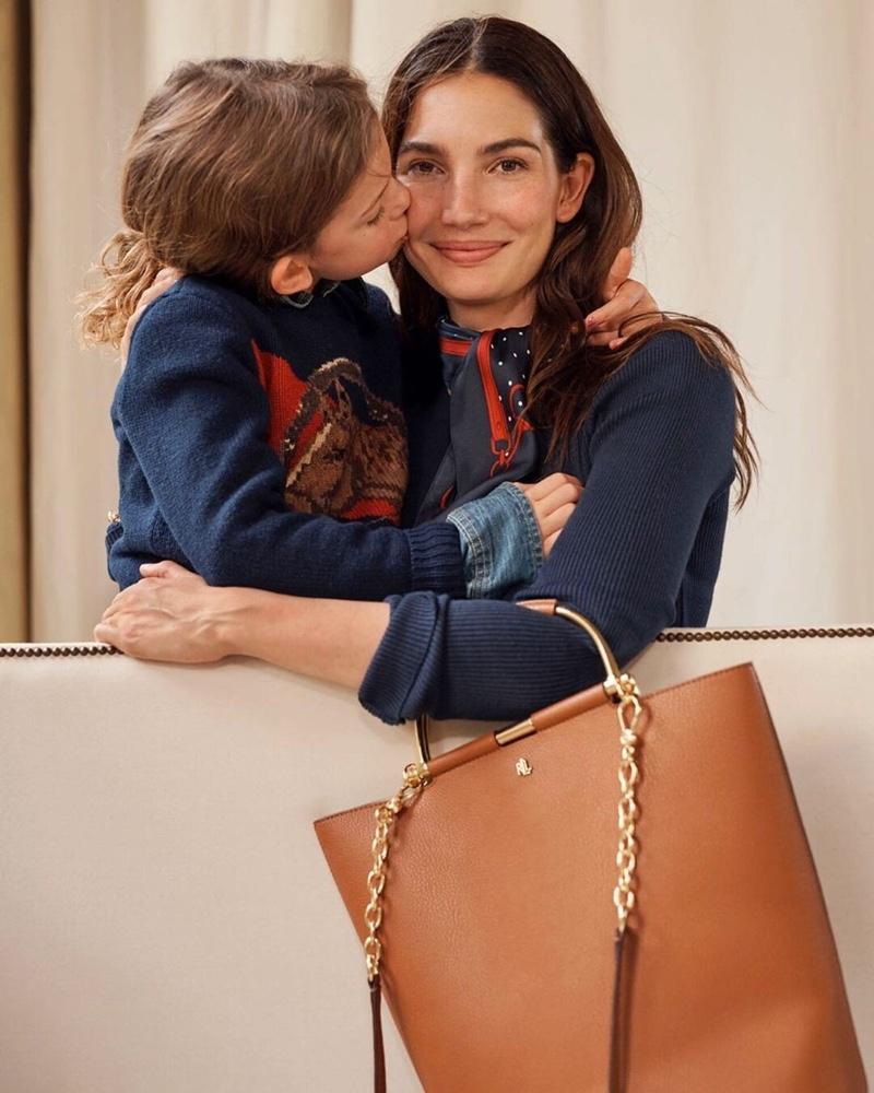 Lily Aldridge and her daughter front Lauren Ralph Lauren fall 2019 campaign
