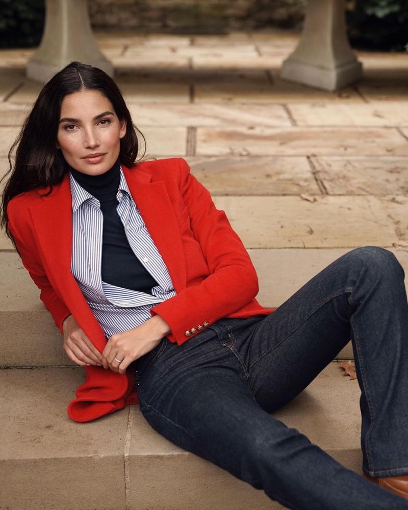 Model Lily Aldridge strikes a pose in Lauren Ralph Lauren fall 2019 campaign