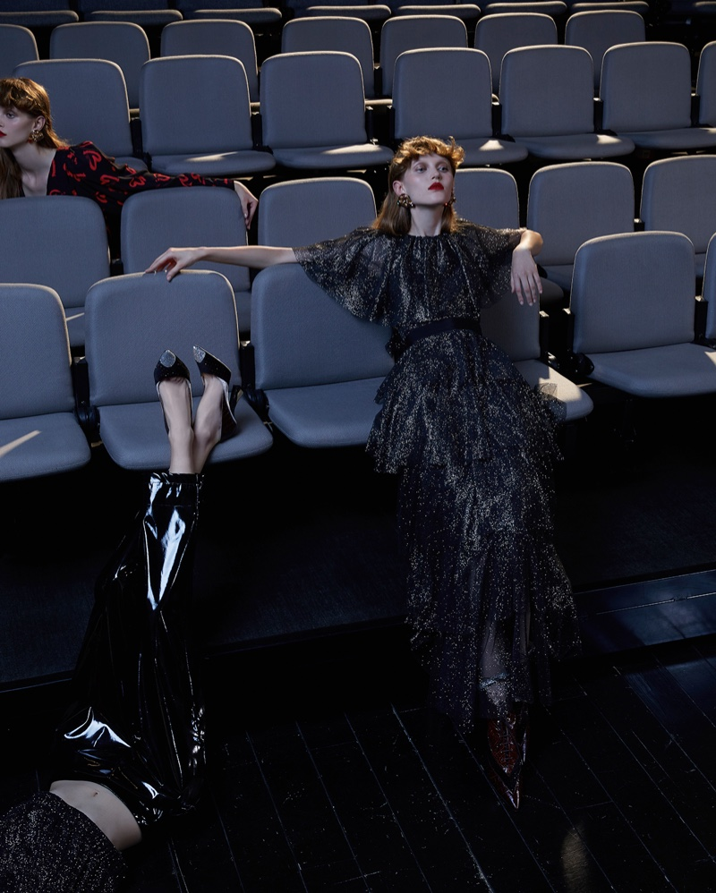 Livka Syroczynska Poses at the Movies for Vogue Italia