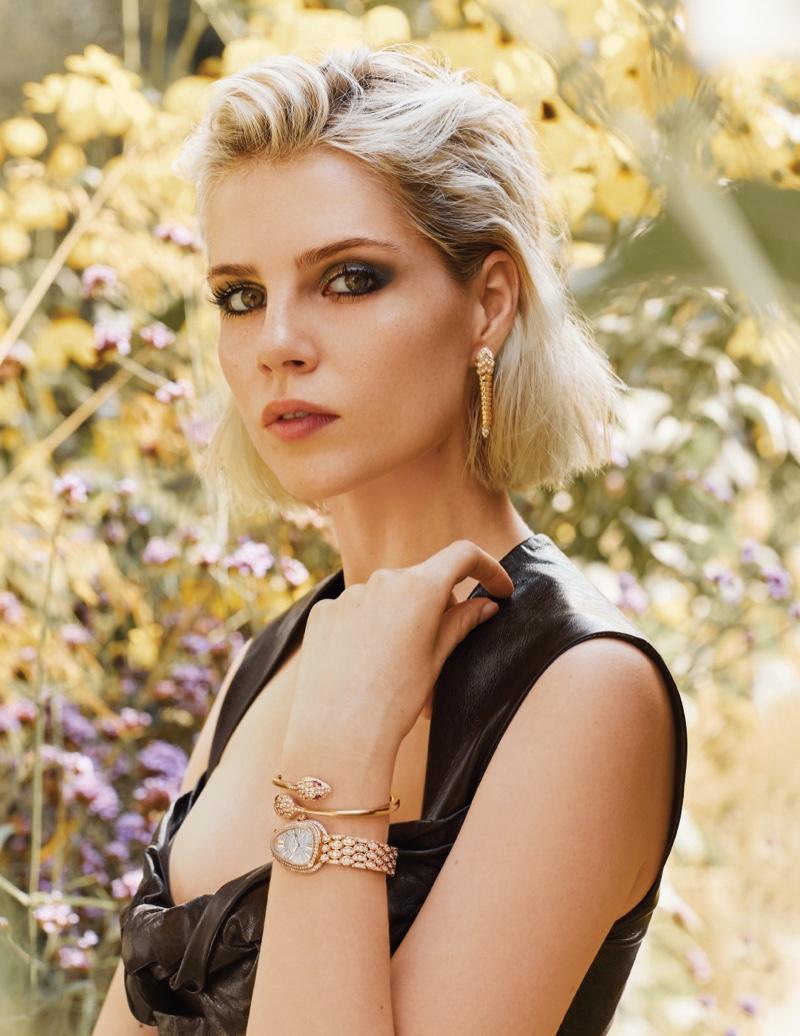 Ready for her closeup, Lucy Boynton wears Bulgari jewelry