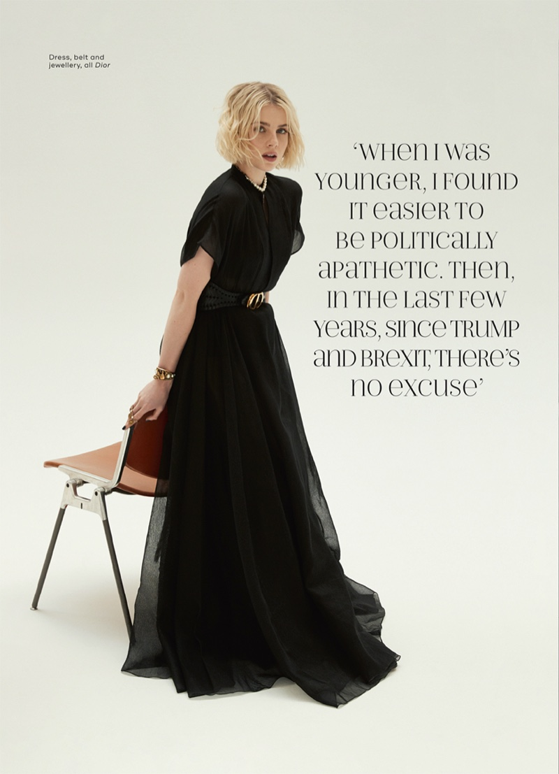 Dressed in black, Lucy Boynton enchants in Dior