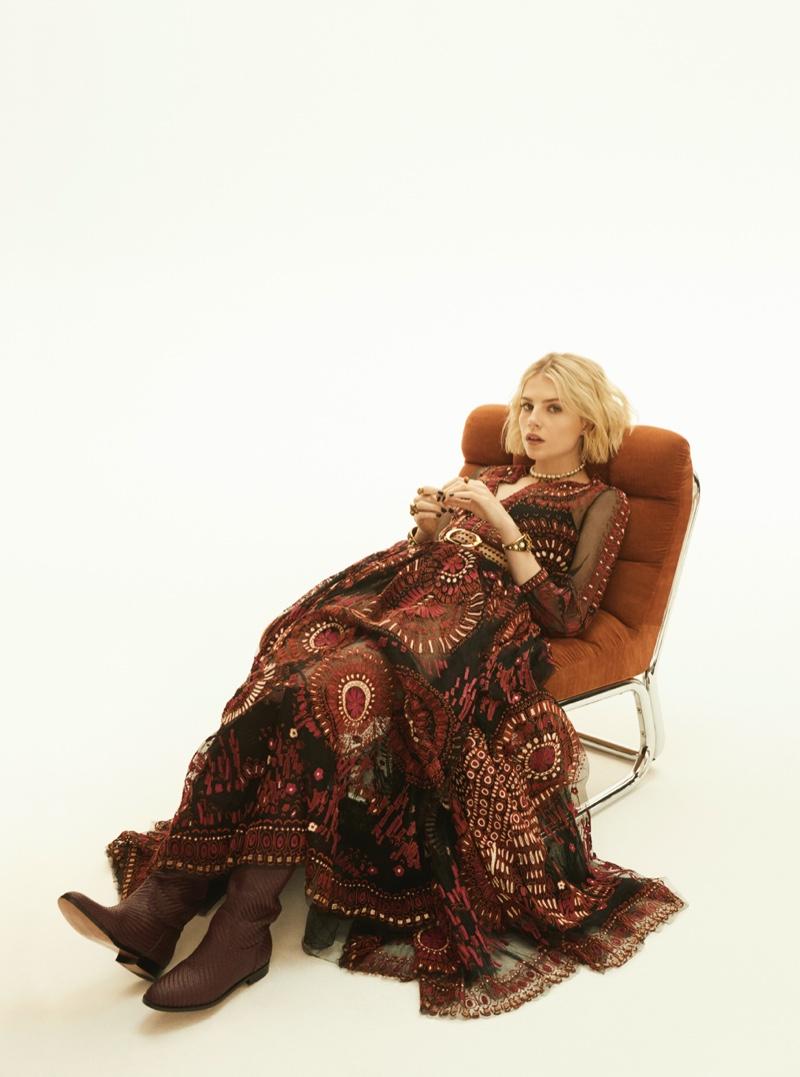 Lucy Boynton wears embroidered Dior dress