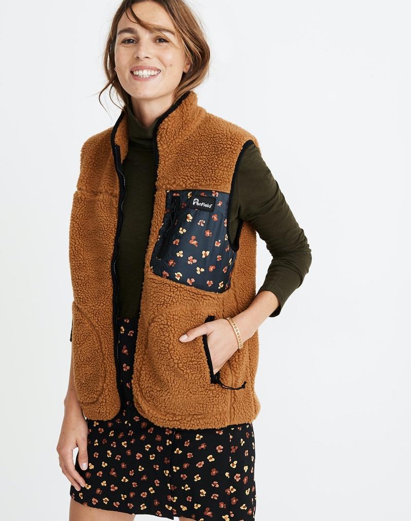 Madewell x Penfield Lucan Fleece Vest in Feline Floral $135