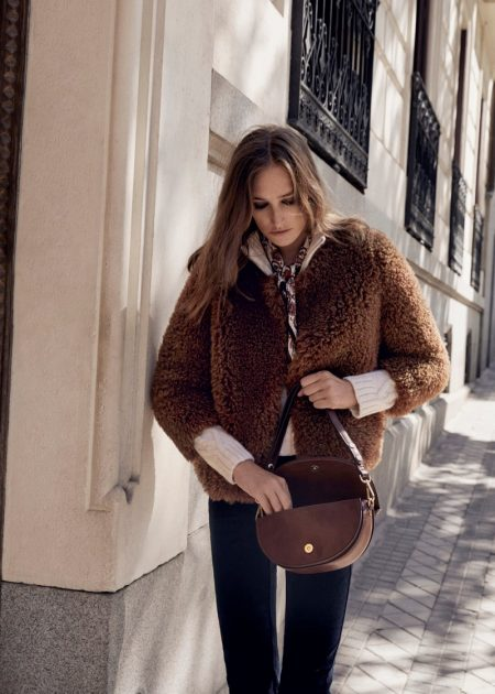 Josephine le Tutour Models 1970's Inspired Outerwear From Mango
