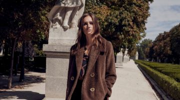 Josephine le Tutour poses in Mango pocketed faux fur coat