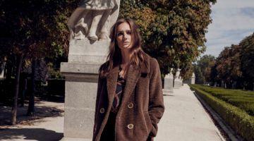 Josephine le Tutour poses in Mango pocketed faux fur coat