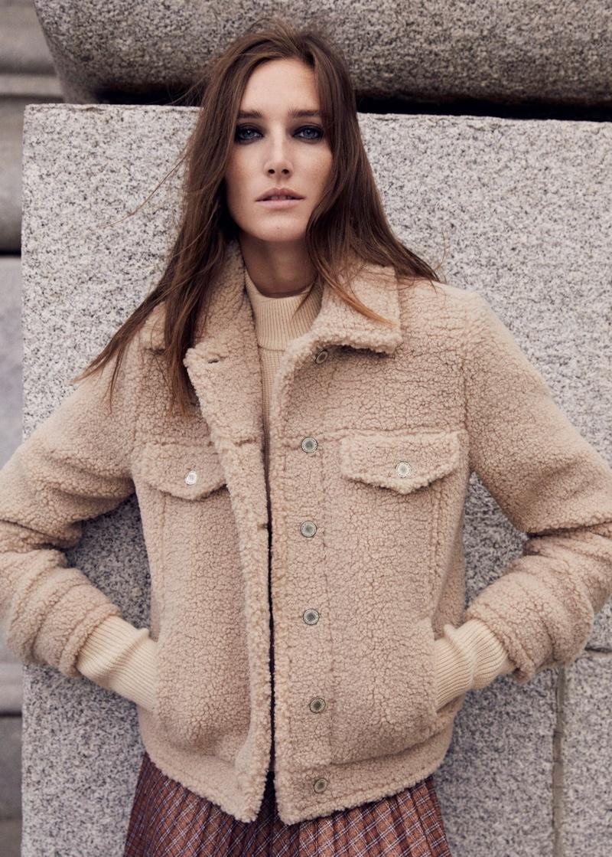 Josephine le Tutour models Mango's fall-winter 2019 outerwear selection