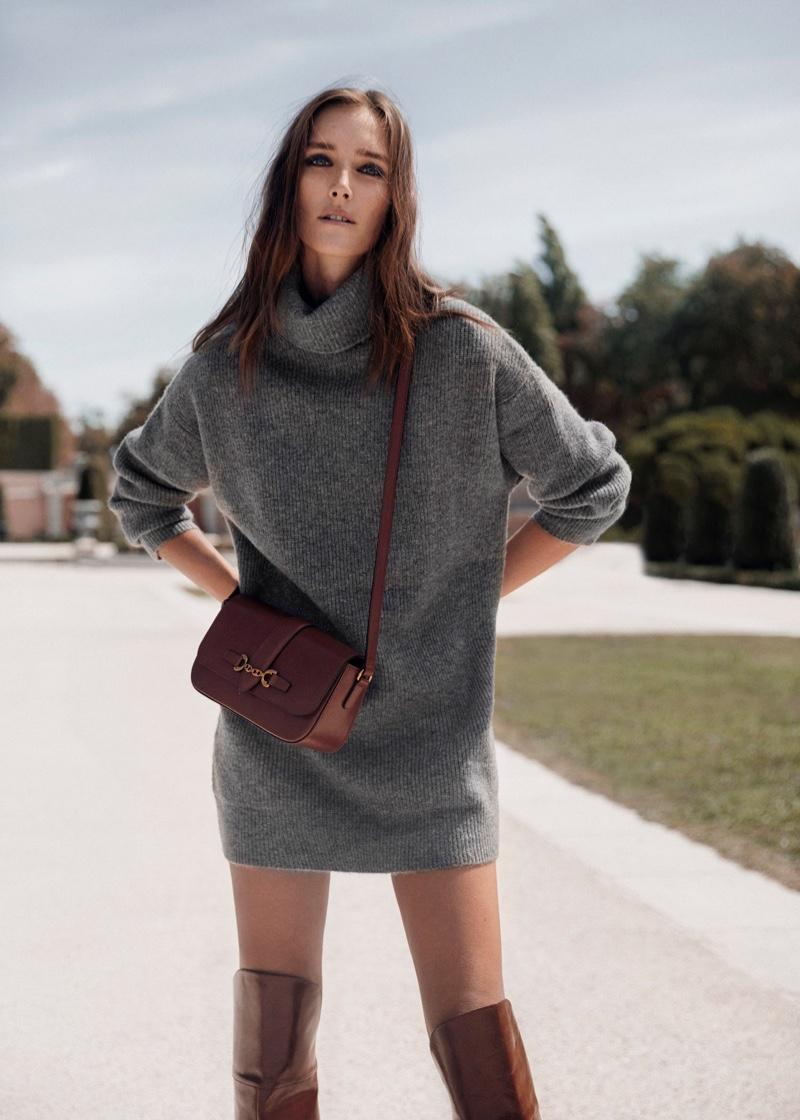 Channeling 1970's vibes, Josephine le Tutour wears Mango turtleneck sweater dress