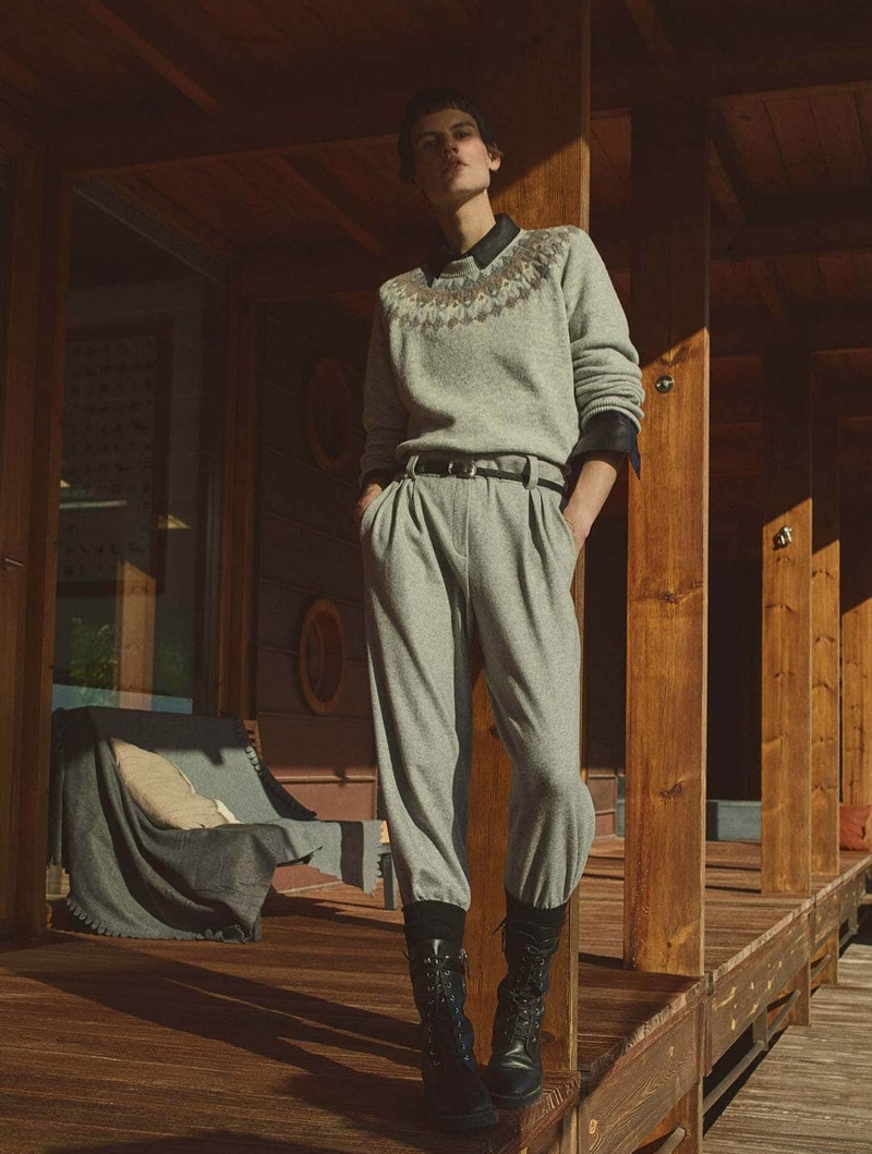 Massimo Dutti Sweater with Jacquard Detail, Heathered Knit Wool Trousers and Leather Cowboy Belt