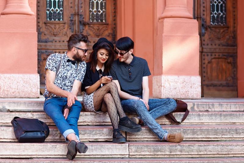 Men Woman Stylish University Students