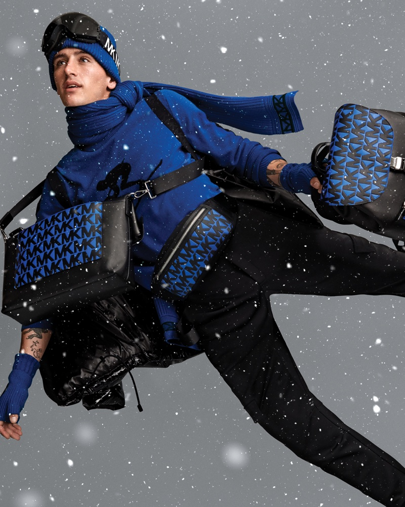 Austin Augie dresses in blue for Michael Kors Mens holiday 2019 campaign