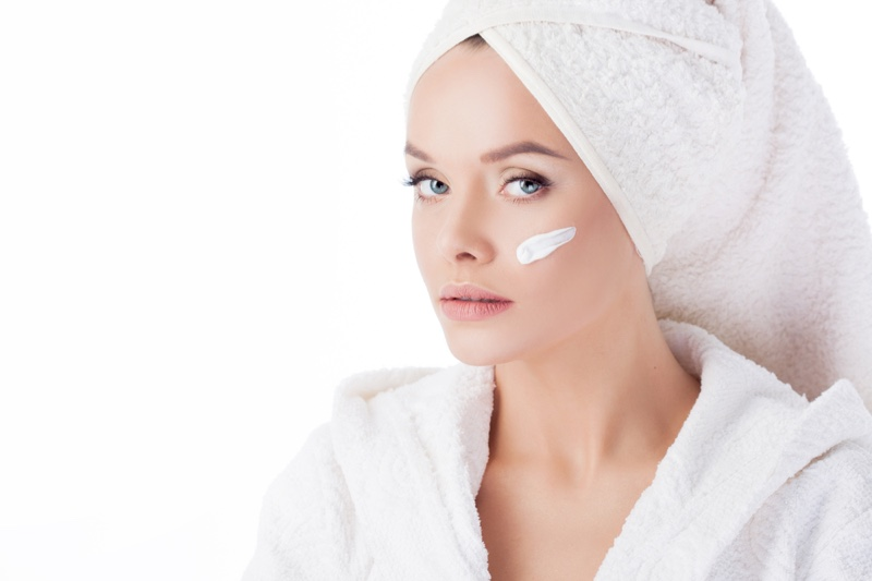 Model Beauty Face Cream Hair Towel Robe