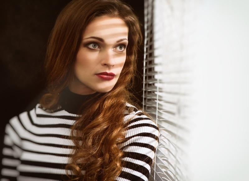 Model Blinds Beauty Closeup Long Hair Striped Sweater
