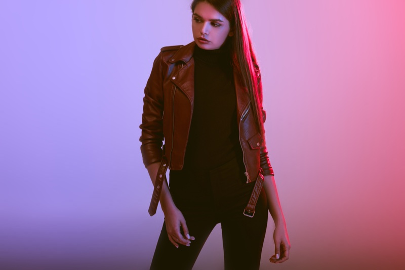 Model Leather Jacket Black Cool Look