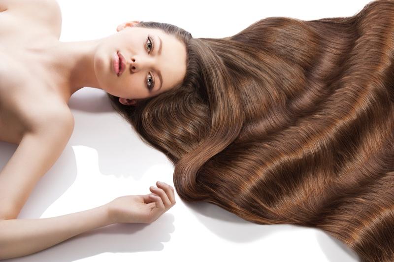 Model Long Wavy Brown Hair