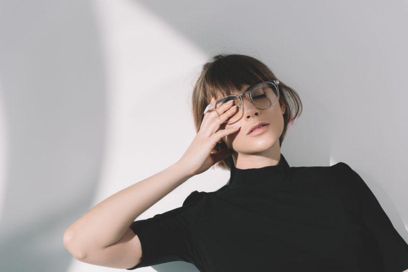 Model Wearing Glasses Classy