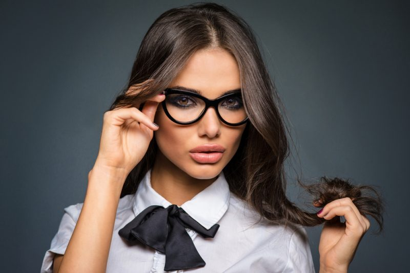 Model Wearing Glasses Glamour Look