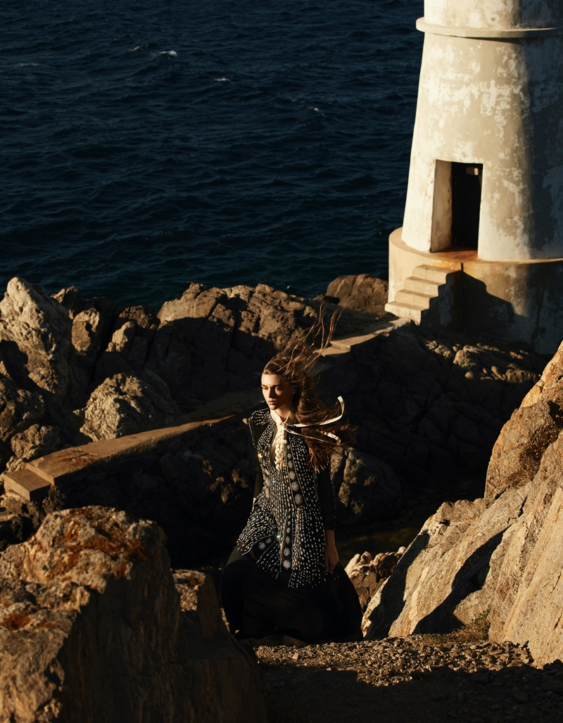 Natalie Ogg Enchants in Romantic Fashions for Vogue Arabia