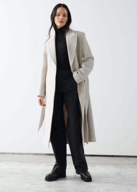 & Other Stories Belted Fitted Recycled Wool Coat $279