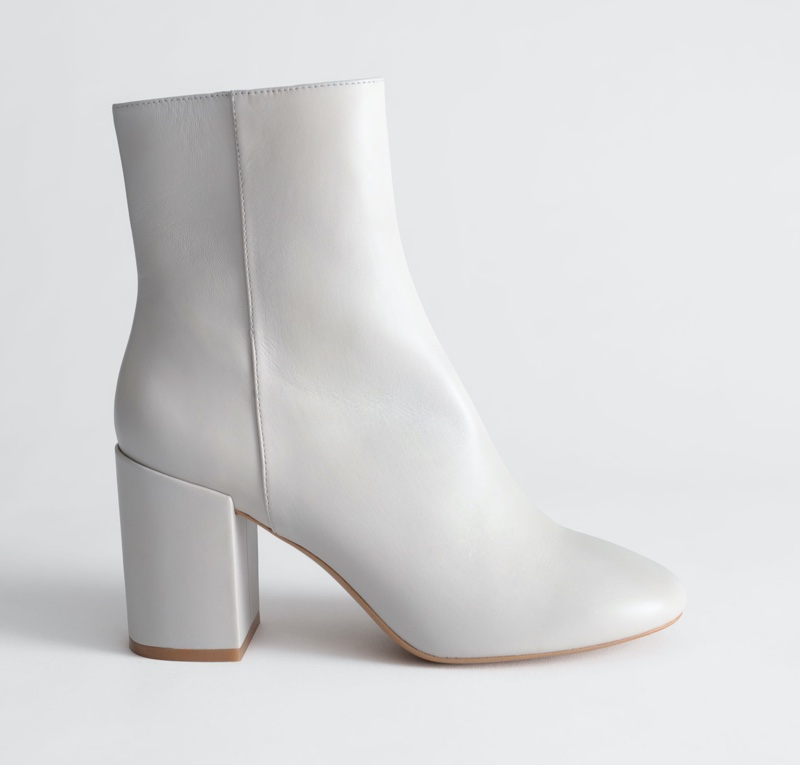 & Other Stories Block Heel Leather Boots in Light Grey $179
