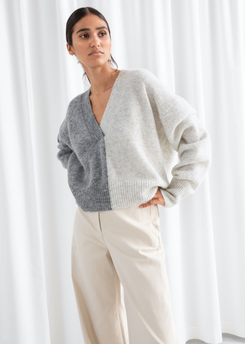 & Other Stories Color Block V-Neck Sweater $99