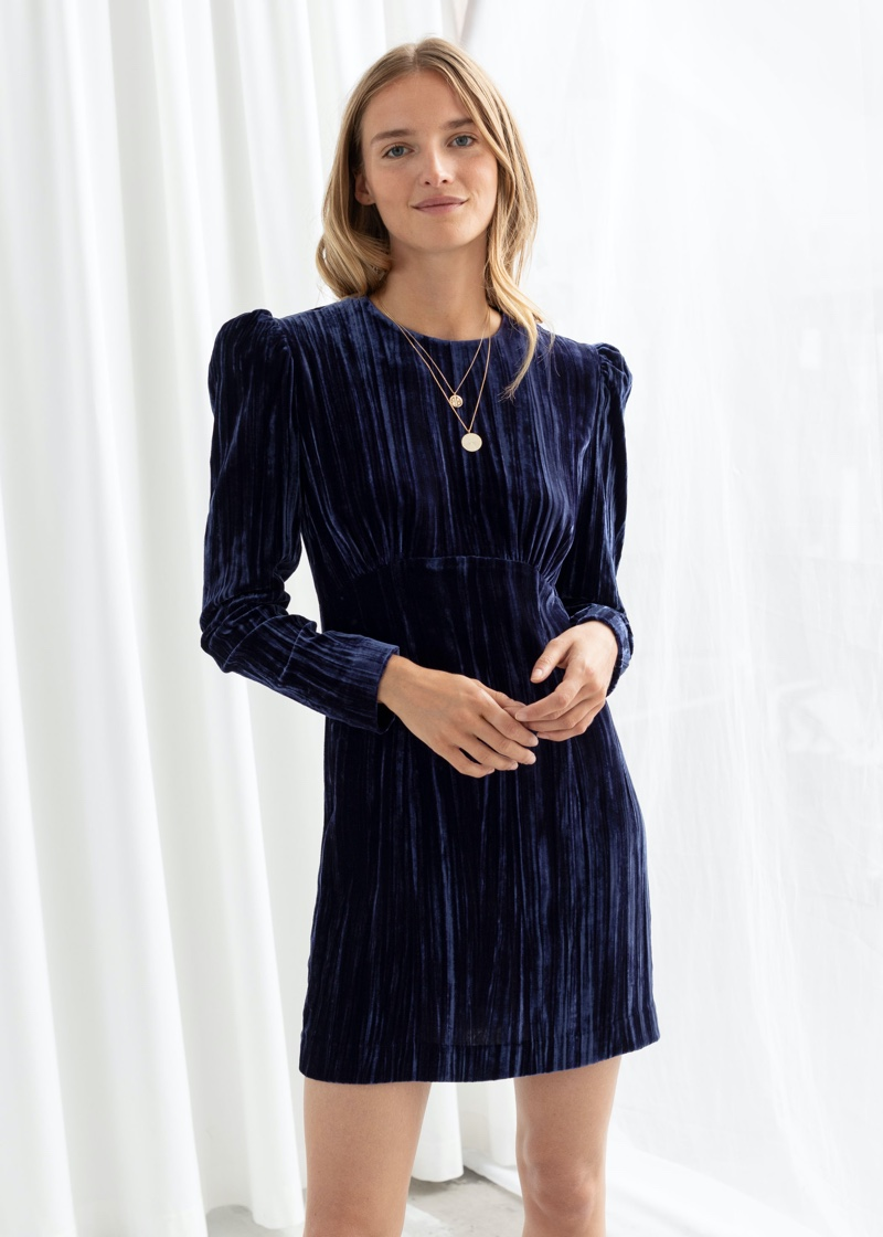 & Other Stories Crushed Velvet Puff Sleeve Mini Dress $99