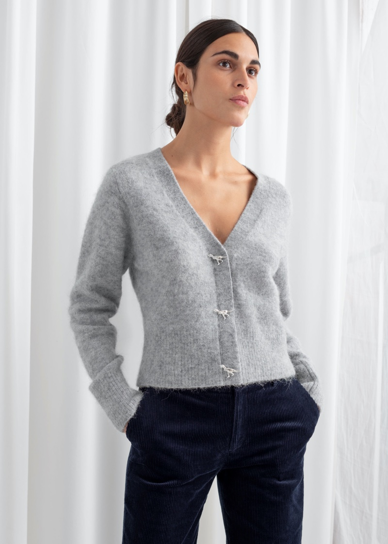 & Other Stories Dinosaur Button Knit Cardigan in Grey $99