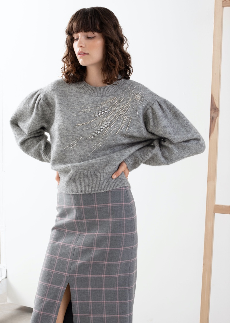& Other Stories Embellished Wool Blend Sweater $129